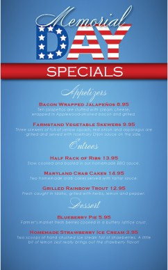 Memorial Day Specials Menu Holiday Archive
