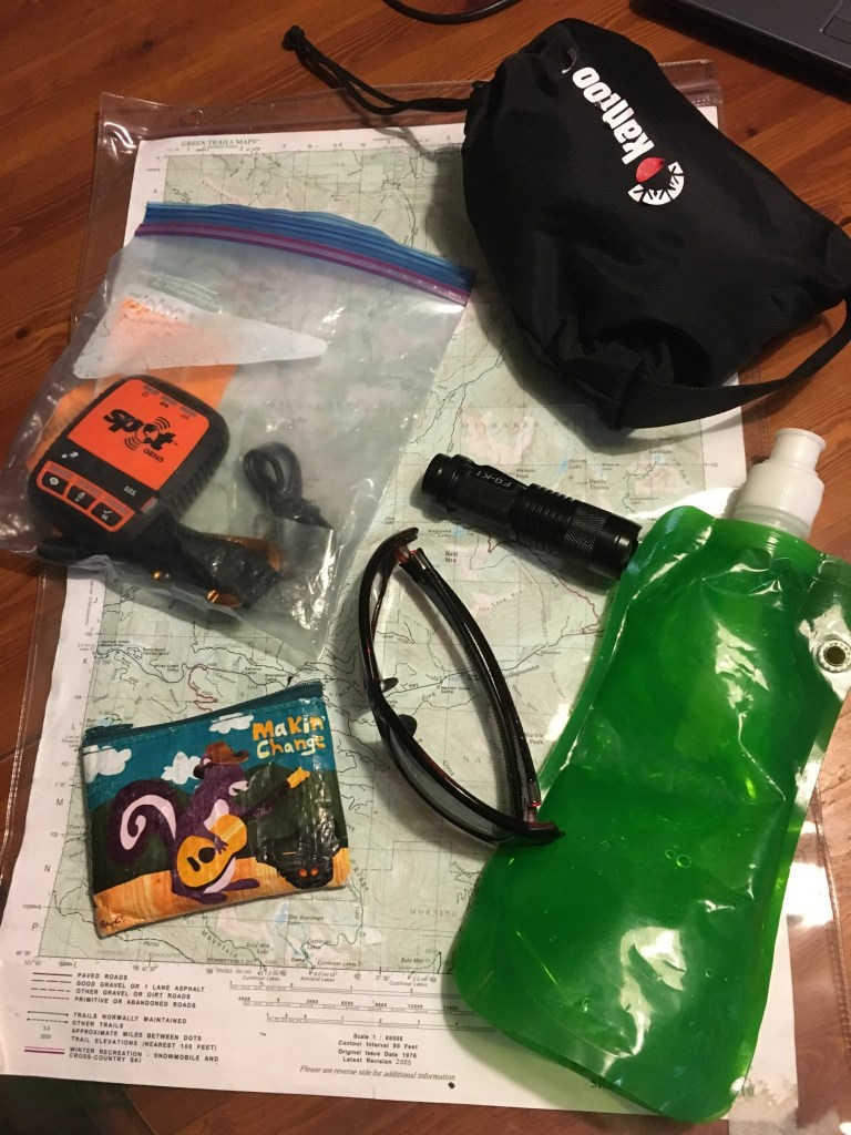 Not in a bag: map, water bottle, Microspikes, wallet, flashlight, sunglasses, and SPOT beacon.