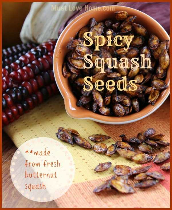 Love Pumpkin Seeds? Then try these Spicy Squash Seeds! They are so so spicy good and crispy! Four ingredients and 15 minutes and you can be snacking!