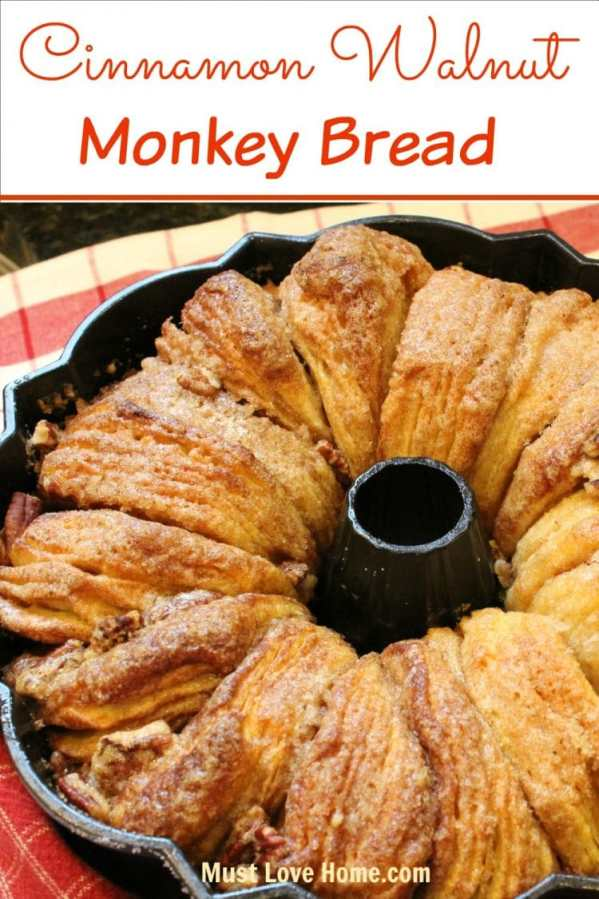 This is flat out the most AMAZING Cinnamon Walnut Monkey Bread recipe ever! You just need 6 simple ingredients to be in Breakfast, Brunch, Dinner or anytime Heaven! Do not eat this alone, you will finish the entire pan yourself!!