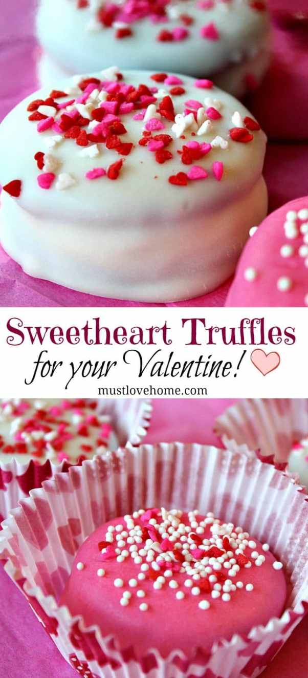 Make these irresistible Oreo Sweetheart Truffles for your Valentine in just a few simple steps! Using cookies, melted candies and festive sprinkles, you can make these for your sweetheart right in your own kitchen!
