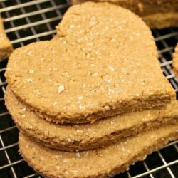 Homemade Apple Peanut Butter Dog Treats are amazingly healthy - with no sugar like you find in store bought!  Just mix, roll, cut and bake! They are Dog tested - Mom approved!!