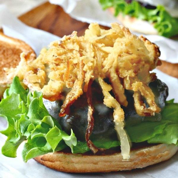 Cheddar Onion Straw Burger