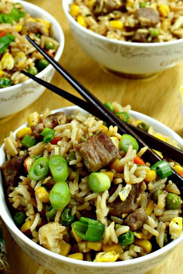 Pork and Vegetable Ponzu Fried Rice is better than take-out! Ponzu gives this fried rice a refreshing hint of citrus flavor and is lighter than standard soy sauce! Make-ahead friendly too!