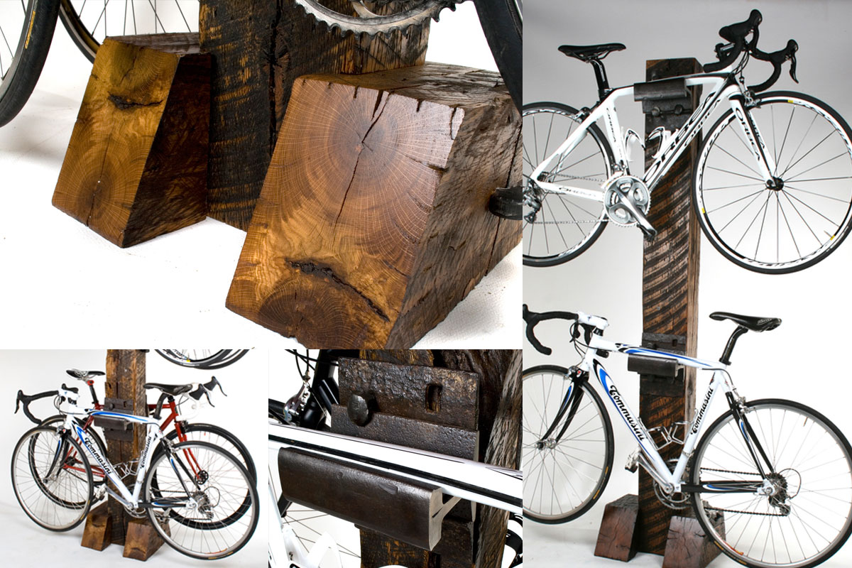 RAILROAD TIE BIKE RACK