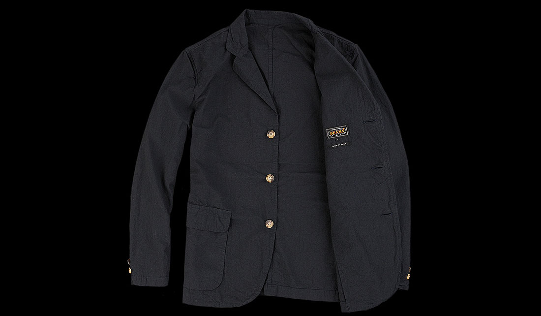 BEAMS+ 3 BUTTON SOLID SUCKER JACKET IN NAVY