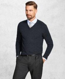Brooks Brothers Merino Wool V-Neck Sweater-1