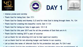UPDATED: VIDEO + PRAYER POINTS: RCCG 2016 fasting & prayers