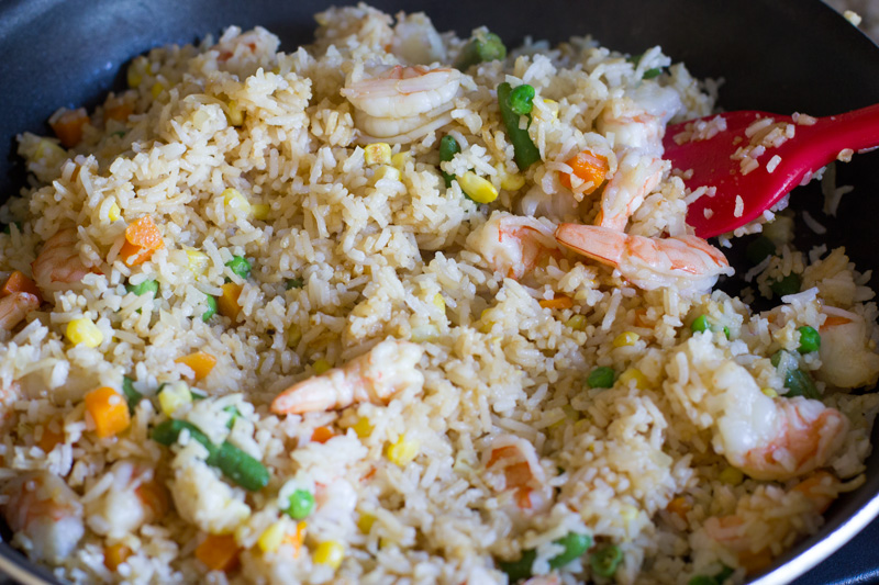Fried rice complete and ready to plate