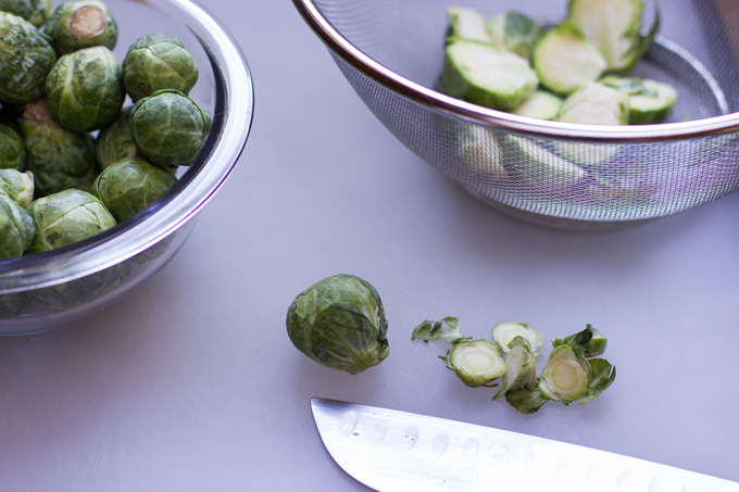 Trimming the Brussels sprouts