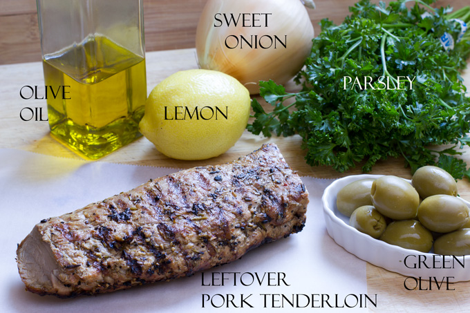 Ingredients for pork tenderloin salad