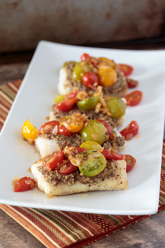 Baked Cod with Tapenade and Warm Tomato Salad