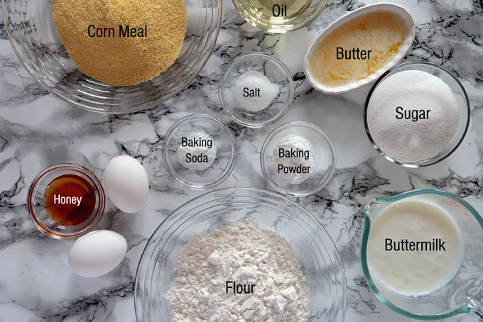 Ingredients for making sweet cornbread