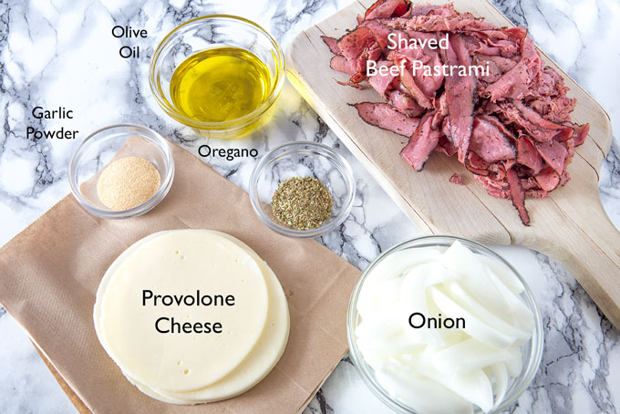 Ingredients for the grilled pastrami and provolone