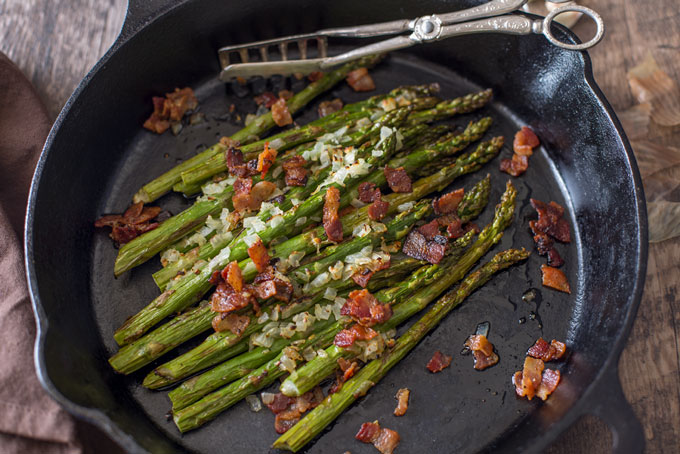Cooked skillet asparagus with bacon