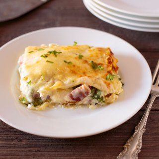 Smoked ham and spinach lasagna on a plate