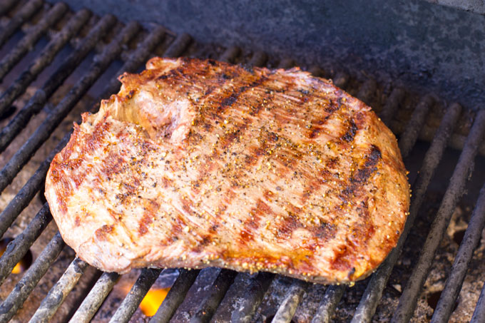 Grilling the flank steak