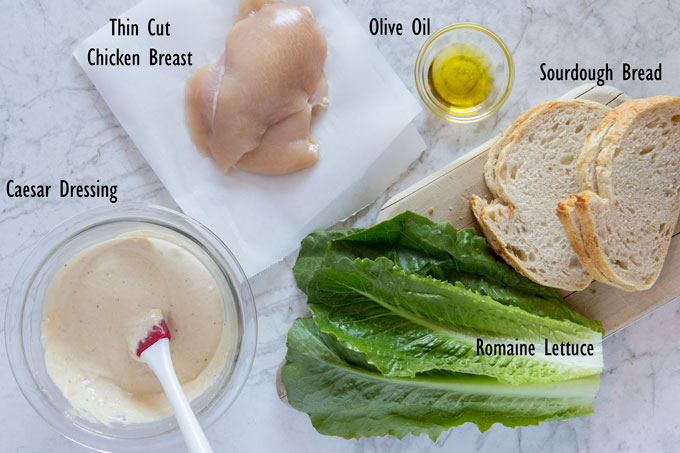 Ingredients for the grilled chicken Caesar sandwich