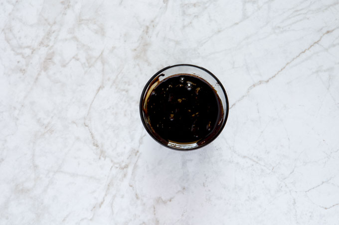 Balsamic glaze in a bowl after reduction