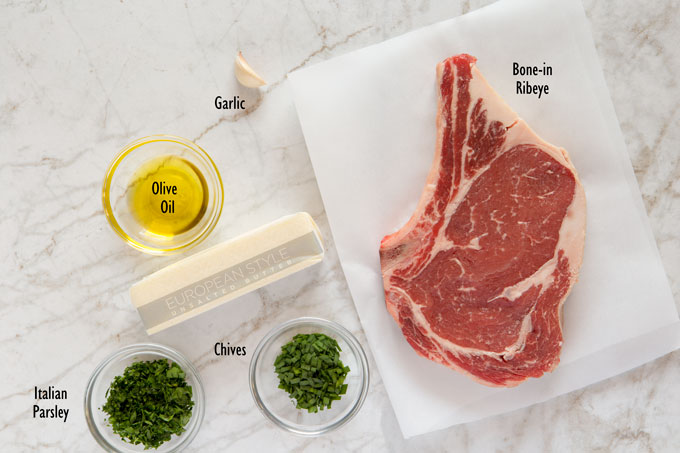 Ingredients for pan seared ribeye with compound butter