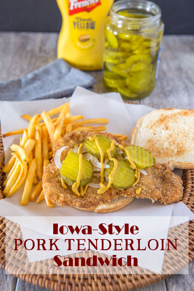 Iowa-style pork tenderloin sandwich with fried and text banner