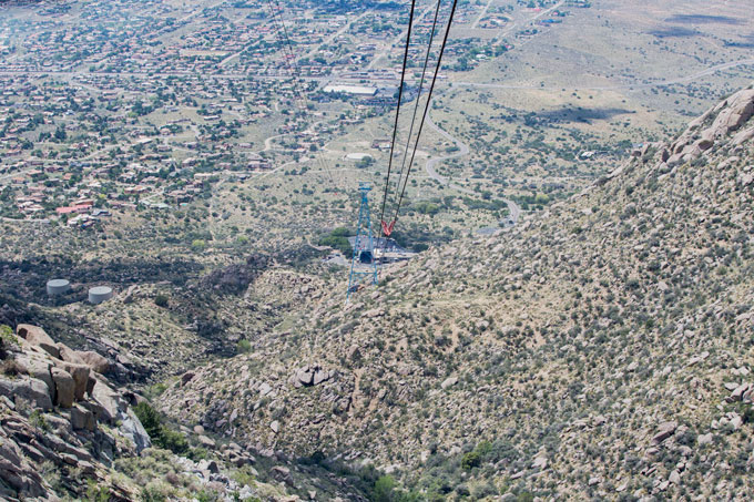 High view of the tram building at the bottom of Sandia Peak