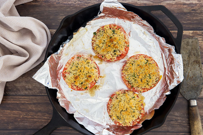 Parmesan and herb stuffed roasted tomatoes