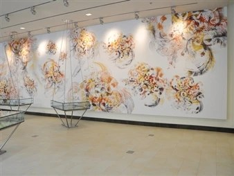 Casey Reas, Signals is a commissioned mural for building 76 at the Massachusetts Institute of Technology (MIT)