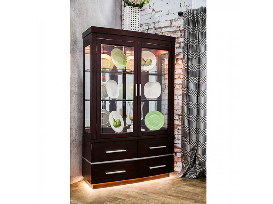 lawrence dark cherry finish led light base curio cabinet shop for affordable home furniture decor outdoors and more