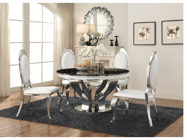 Faux Marble Chrome Round Dining Table Set Shop For
