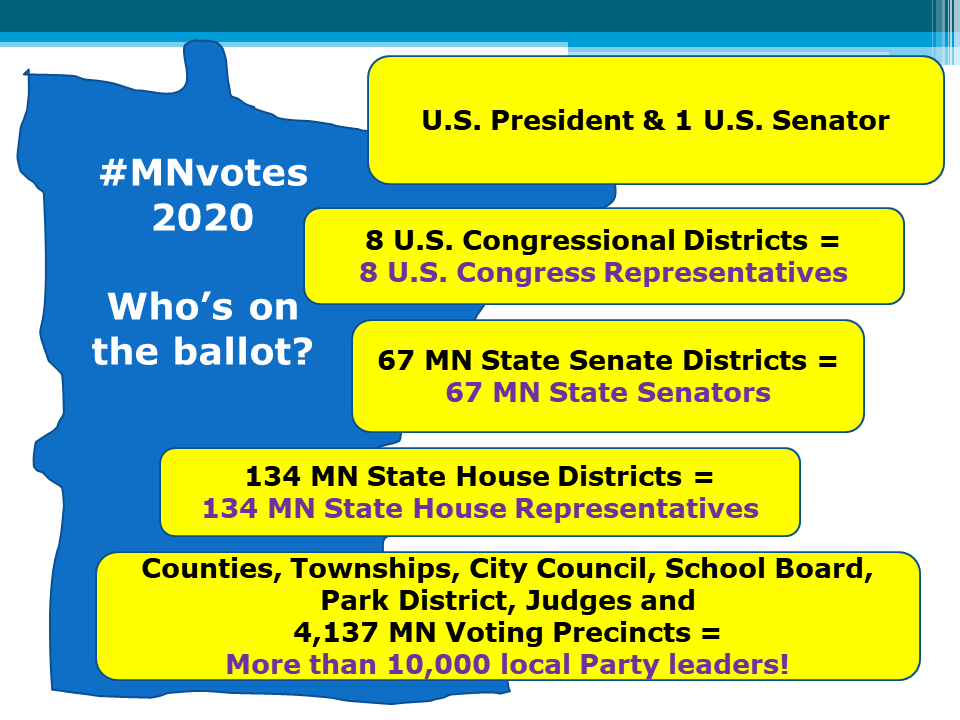 graphic showing what is on the 2020 ballot in MN: President, 1 Senator, 8 Congresspersons, 67 Senate Districts, 134 House Districts, 4137 voting precincts with county, township, city council, school board, park district and judges elections