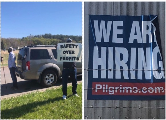 protest at the pilgrims pride meatpacking plant in cold spring mn