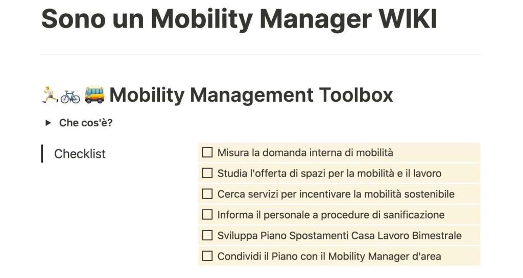 mobilità sostenibile mobility manager wiki