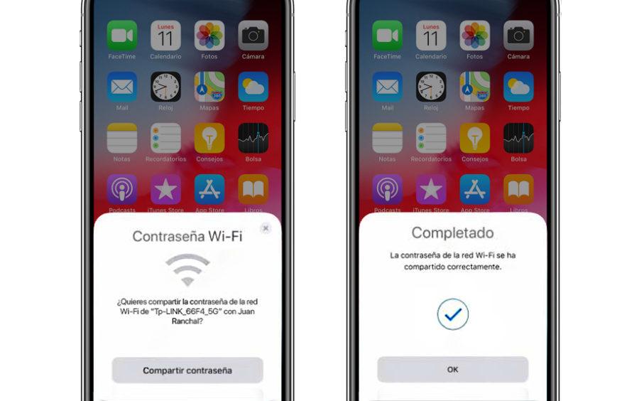 Compartir contraseña WiFi iOS