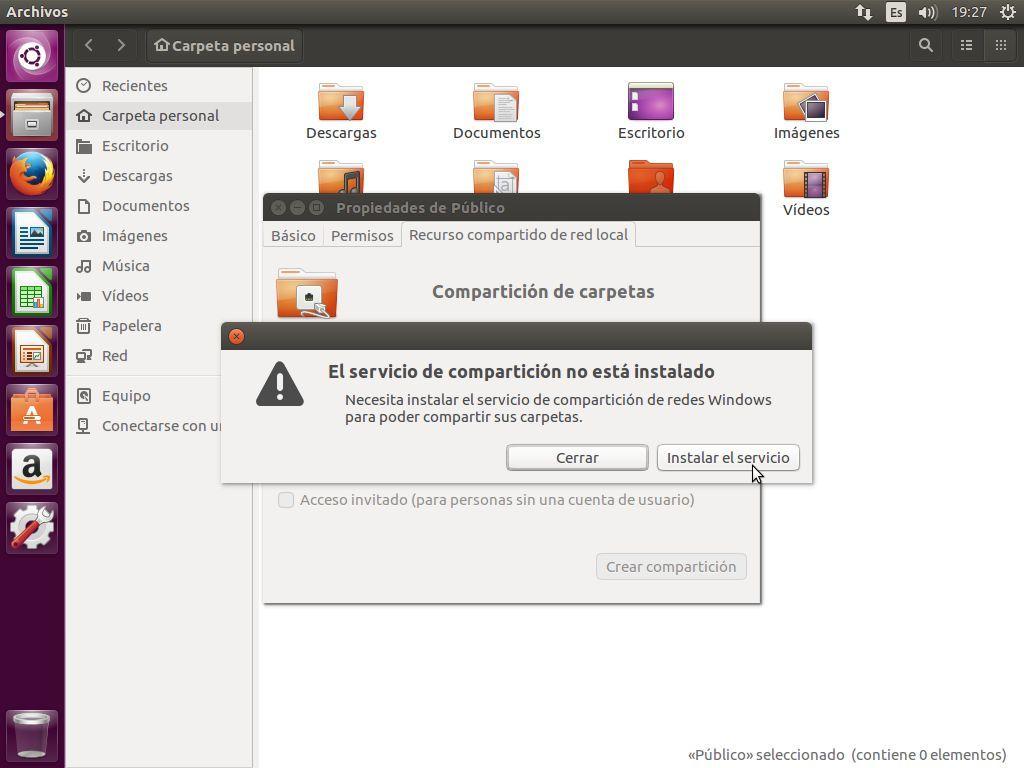 Ubuntu 16.04 nos avisa cuando Samba no está instalado cuando se quiere compartir una carpeta