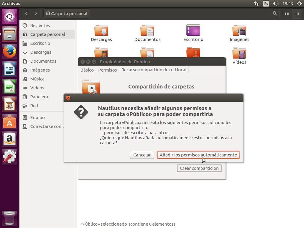 Añadiendo los permisos necesarios a nivel del sistema para que el invitado de Samba pueda escribir en la carpeta compartida en Ubuntu 16.04