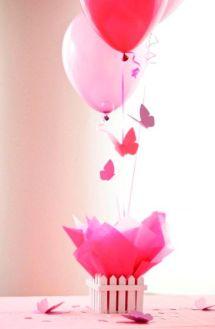 Manualidades para Baby Shower con globos para niña en rosa