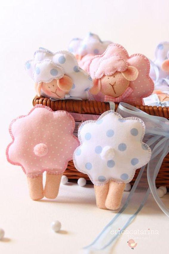 Manualidades de fieltro para bebés ovejas