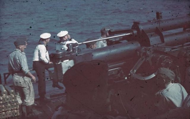 Sailors with 8.8cm Flak Gun on Siebel Ferry, Black Sea