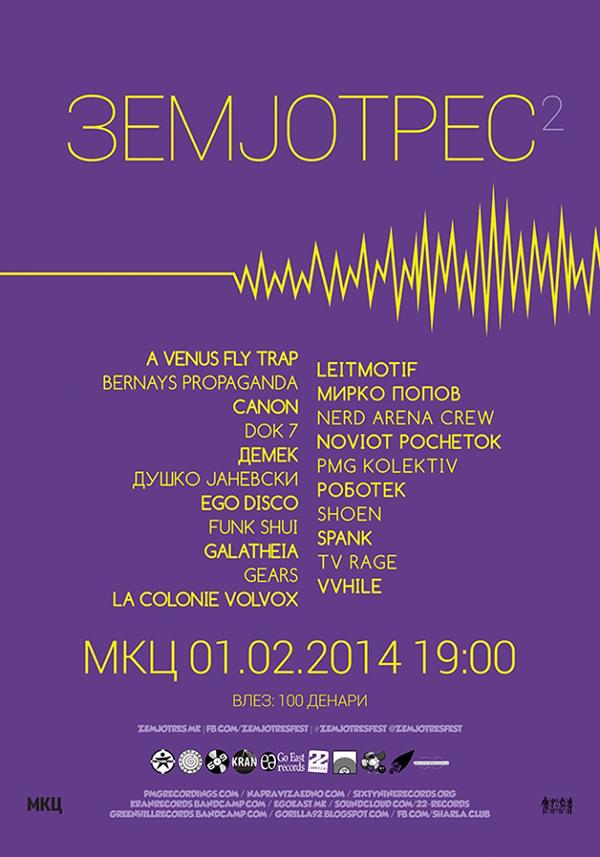 """Официјален постер на фестивалот """"Земјотрес 2"""""""