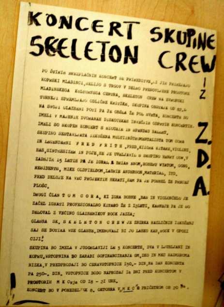 Koncertni plakat Skeleton Crew (Arhiv: Boris Bradač)
