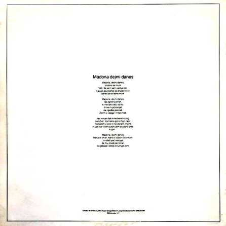 Deseti Brat - Madona Dejmi Danes (1985) - Platnica (zadaj)