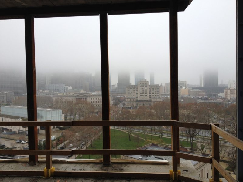December view of Philadelphia from a Rodin Square room under construction.