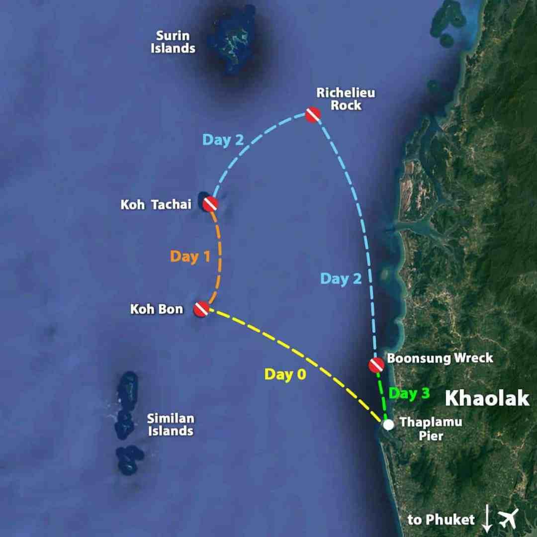 Koh Bon, Koh Tachai, Richelieu Rock Diving Map