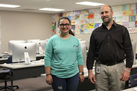 Senior Meghan Clark spends every morning with friends in art teacher Jerry Howard's Room