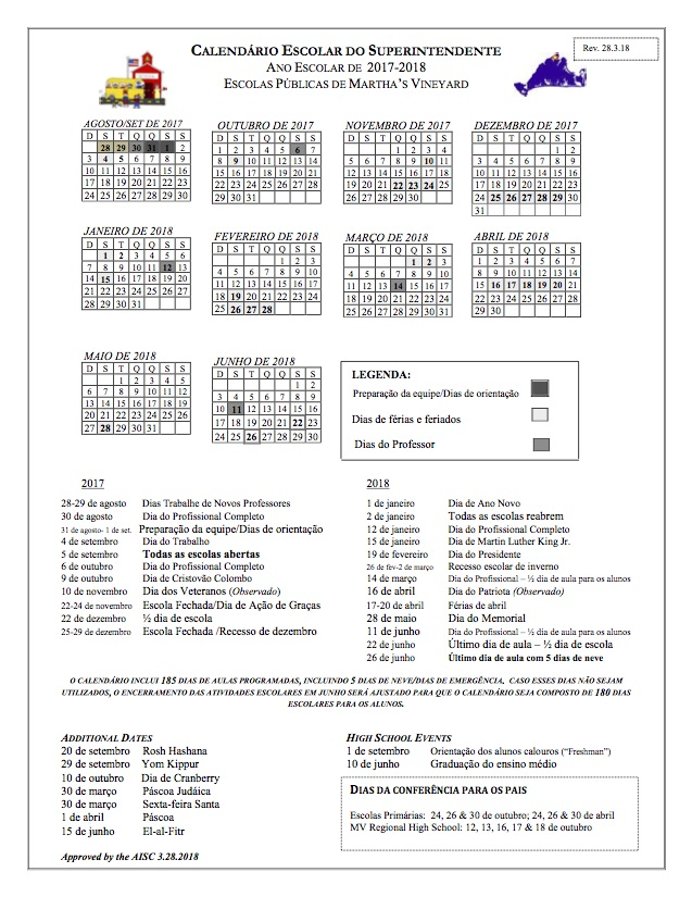 Revised 2017-18 Calendar - MVRHS