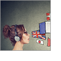 Illustration of a variety of different international flags coming out of the mouth of a woman wearing headphones.