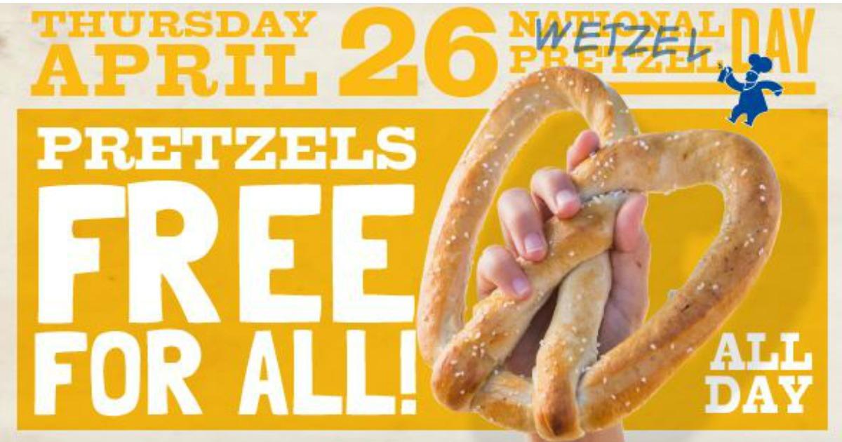 free pretzel at wetzel s pretzels 4 26 mwfreebies