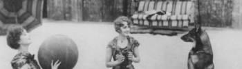 fitzgeraldist: Myrna Loy, Leila Hyams, and Rin Tin Tin playing ball on the beach, 1927.