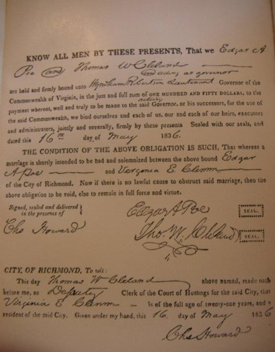 Copy of Clemm and Poe's marriage certificate